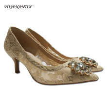 VIISENANTIN 2019 spring summer lace high heel shoe crystal g