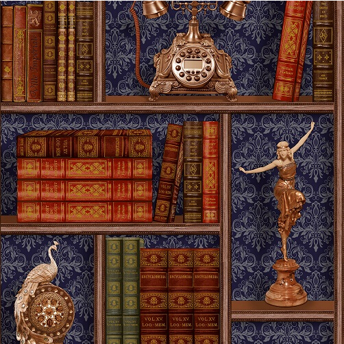 New 4 color 3d art bookshelf background wallpaper mural for Bookshelf mural wallpaper