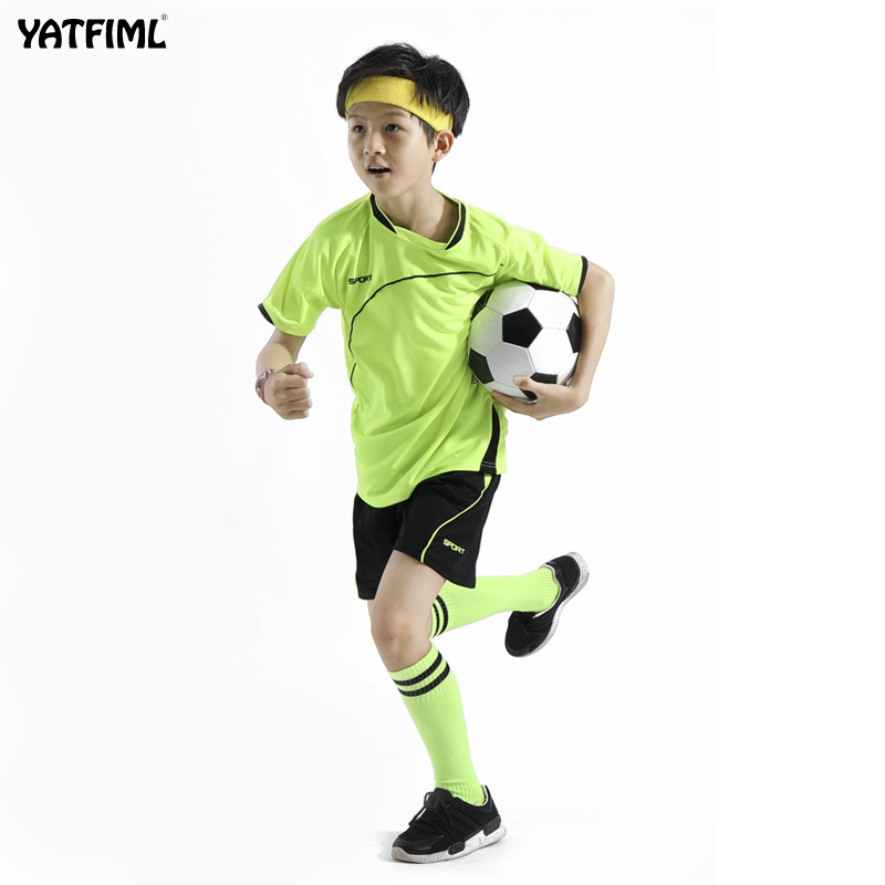 YATFIML Kids Football 2018 Custom Team Child Training Football Jersey Set Children Daddy And Me Boys Soccer Uniforms Clothing