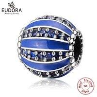 EUDORA Real 100% 925 Sterling Silver Sky Blue Crystal CZ Charm Beads fit Charm Bracelet DIY Jewelry Making Christmas gif CYZ048