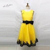 ชุดศีลมหาสนิทครั้งแรกสำหรับสาวๆสีเหลืองสีดำลูกไม้ประกวดชุดสำหรับสาวGlitz Vestido de Daminha