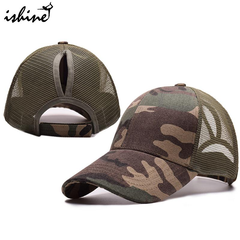 2018 Ponytail Running Cap Women Snapback Hat Summer Mesh Baseball Caps Sport Adjustable Sport Caps Solid Color ...