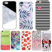 Case For iPhone 7 Floral Phone Cases Soft Silicon Marble Colors Leaves Print Cover Coque For iPhone 5 5S SE 6 6s 7 8 Plus Cases