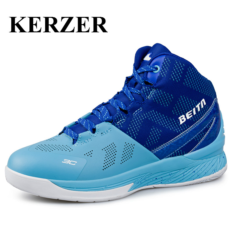 ФОТО KERZER Basketball Athletic Sneakers Men High Top Basketball Shoes Professional Training Boots Original Sports Basketball Boots