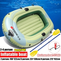 Sports Inflatable Fishing Boat Raft PVC Canoe Dinghy Tender 2/3/4 Person Kayak Fishing Boats Cushion Rowing Boats