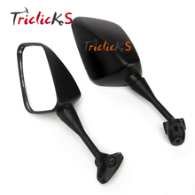 Triclicks 2x Rectangle Black Rear View Mirror Motorcycle End Side Mirrors For Honda CBR929RR HYOSUNG GT125R GT250R GT650R GT650S