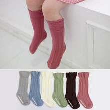 Flower Side Striped Knee High Cotton Newborn Baby Socks Unisex Meias Infant Baby Boys Girls Socks Floor Socks With Rubber Soles