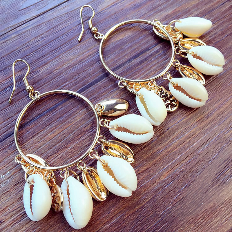 Fashion Women Bohemian Style Cowshell Big Circle Drop Earrings Hoge kwaliteit Kunstmatige ivoren schelp oorbellen