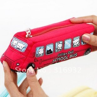 Creative&free shipping! UK school bus pencil case,cotton doll pen bag