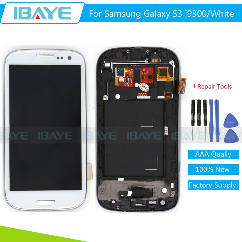 Prix pour Blanc Pour Samsung Galaxy S3 i9300 i9305 LCD Affichage à L'écran Tactile pour galaxy s3 affichage Digitizer Assemblée Remplacement du Cadre de la