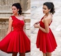 2016 New Arrival Short Mini Cocktail Dresses Red A Line One Shoulder Applique Homecoming Party Club Wear Dresses for Girls Women