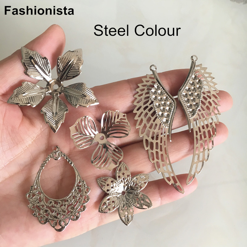 Steel Color Metal Flowers,Filigree Flowers For Jewelry Making,Filigree Wings,DIY Jewelry Crafts Supplies - Free Shipping