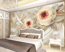 beibehang papel de parede wall papers home decor Modern classic luxury wedding room silk flower lace 3d stereo TV background