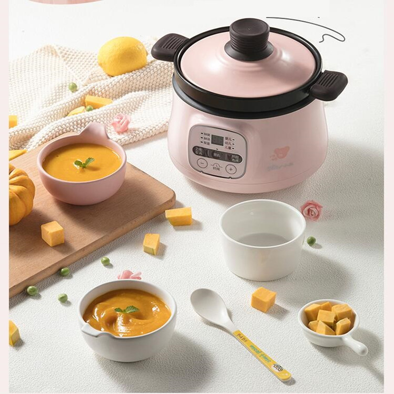 Automatic Household 220V Electric Cooking Pot Multifunctional Stewing Pot Machine Baby Porridge Food Cooking Maker EU/AU/UK/US 220v household electric slow stewing pot machine baby porridge food maker automatic ceramic inner stewing cooker eu au uk