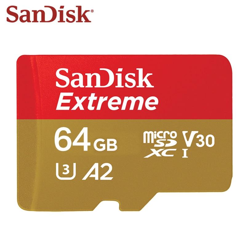 Оригинальный двойной флеш-накопитель SanDisk Extreme Micro SD Card 64 Гб 128 256 Транс флеш-карты памяти U3 A2 SDXC V30 TF карта Micro SD для телефона/Камера