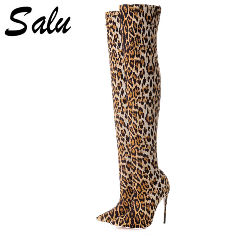 Salu New thigh high boots women flock over the knee stretch boots fashion pointed toe high heels long boots sexy shoes morazora 2018 new arrival over the knee boots women flock autumn winter boots fashion sexy long boots high heels dress shoes