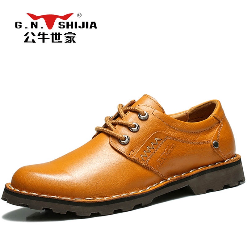 G.N. SHI JIA Retro British Style Men's Casual Shoes Yellow Full Grain Leather Upper Rubber Outsole Man Leisure Shoes 888329 led flashlight led cree xm l t6 torch lanterna zoomable waterproof hand light 3000 lumens aaa or 18650 rechargeable battery