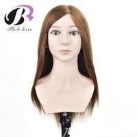 Бесплатная доставка 22 100% человеческих волос обучение манекен голова манекен кукла начальник косметология обучение руководителей подарок