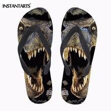 INSTANTARTS/модные шлепанцы с 3D динозавром; мужские летние пляжные мягкие резиновые Вьетнамки; нескользящие мужские шлепанцы-светильник; сандалии с животными