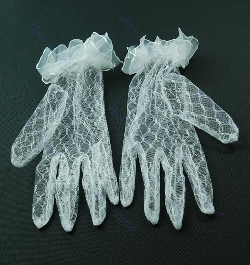 Chic Bri dal Wedd ing Evening Party Banquet DressShort Lace Finger Gloves White