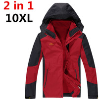 high quality 10XL 8XL 6XL 5XL 4X Man Winter Waterproof 2 in 1 Jacket zipper Hoodie Cotton Padding Coat Trekking Travel pizex