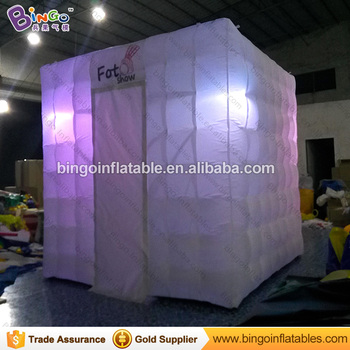 Custom Tents With Logos | Promotional Tent Type 2.4X2.4X2.4 M LED Lighiting Inflatable Photo Booth With Blower HOT Customized Logo Printing Photo Booth