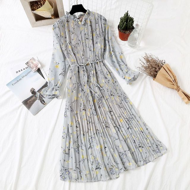 Европейский стиль плюс размер платье с длинными рукавами 2019 Весна Лето Женщины стенд цветочный принт винтажное шифоновое Плиссированное длинное платье