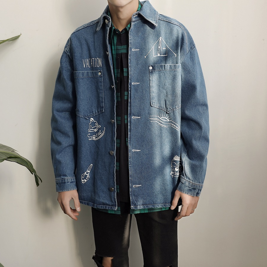 ФОТО 2017 spring summer new men's wash cartoon printed denim garment jacket blue coat of cultivate one's morality tide package mail