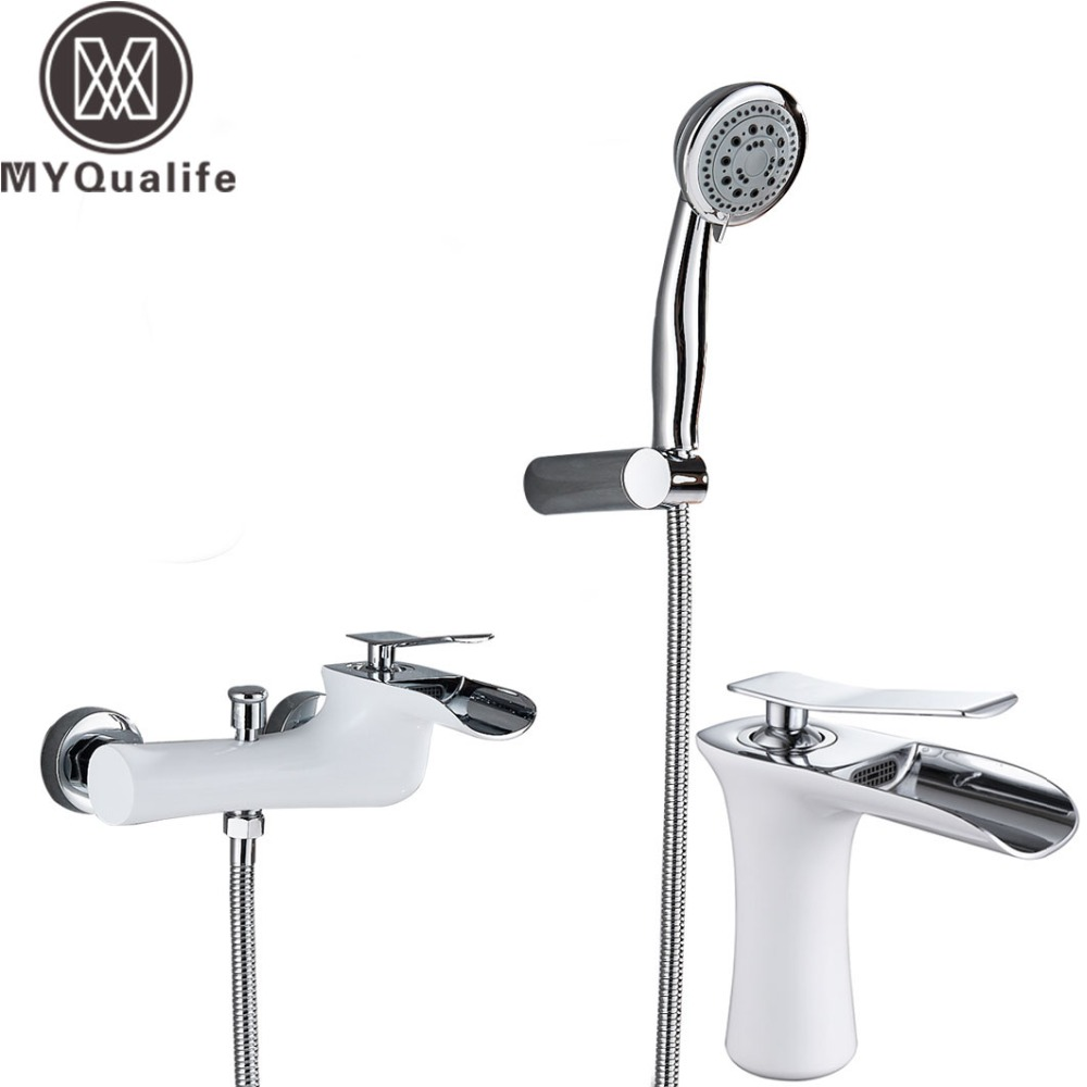 Chrome White Shower Faucet Wall Mounted Waterfall Spout Tub Mixer Tap Handheld Head Waterfall Bathroom Hot Cold Water Faucet Chrome White Shower Faucet Wall Mounted Waterfall Spout Tub Mixer Tap Handheld Head Waterfall Bathroom Hot Cold Water Faucet