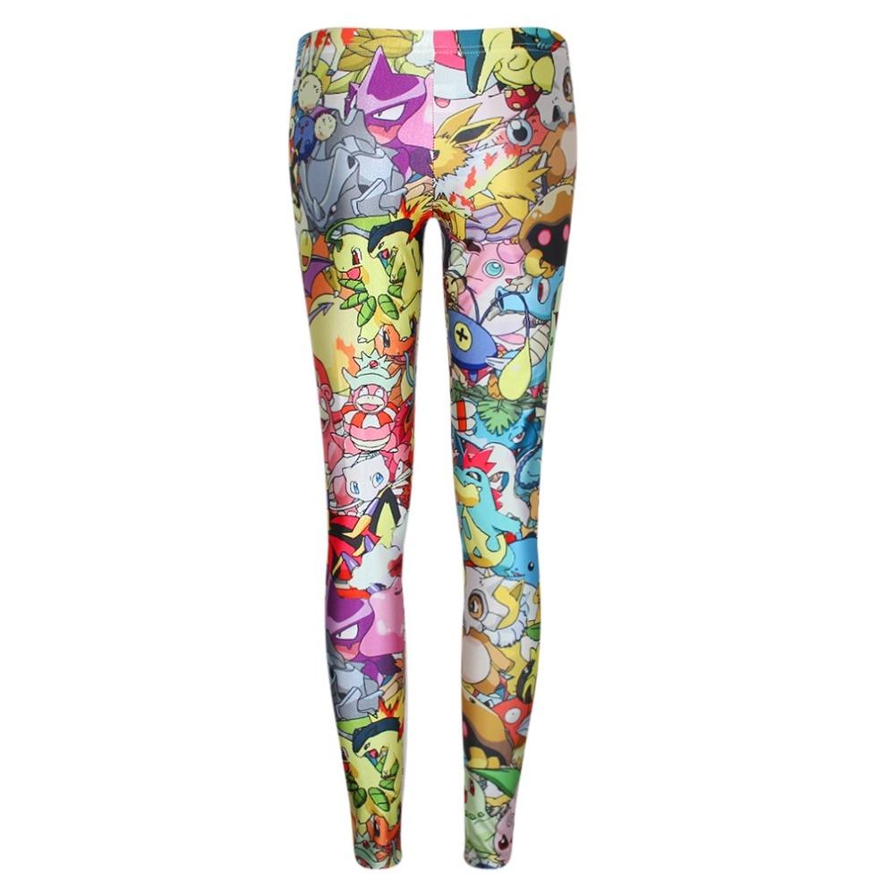 2017 Women Leggings Fashion Mid Waist 3D Leggings Pokemon GO Digital Print Trousers Fitness Drop Shipping Ladies Pants Trouser