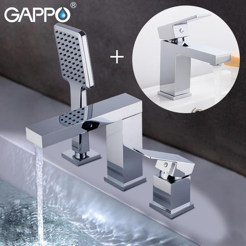 GAPPO bathtub faucet Basin faucet basin mixer tap bathroom faucet brass deck mounted mixer tap faucet shower system antique brass luxury bathtub faucet bathroom mixer tap brass handshower deck mounted 2 models