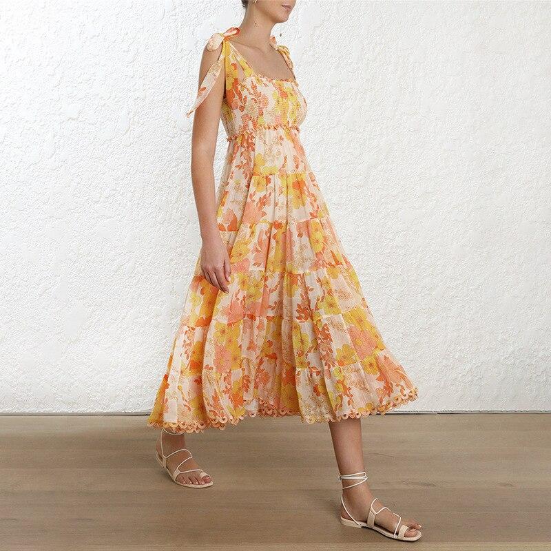 Floral impressão feminina vestido de praia para o mar com arco sem mangas cinta elástica cintura fora do ombro vestidos midi feminino verão 2019 - 4