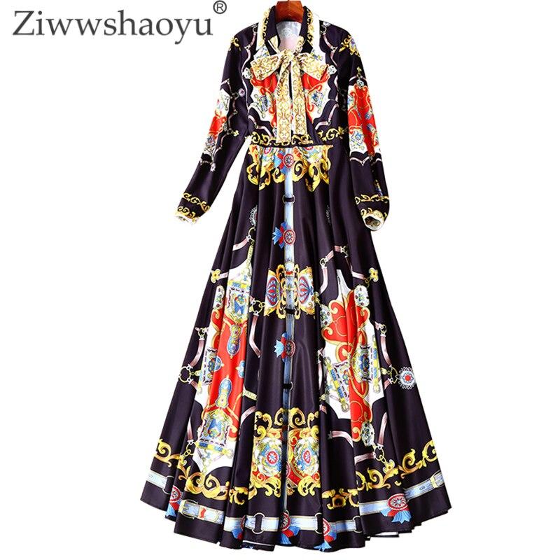 Ziwwshaoyu Élégant Arc Longue robes Turn-down Collar Imprimer tempérament Grande pendule robe Printemps et d'été nouvelles femmes