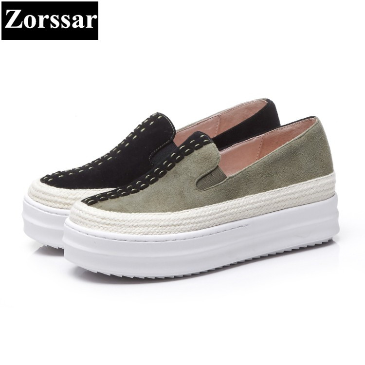 {Zorssar} 2018 NEW genuine leather womens flats shoes Fashion rivets woman loafers casual slip on women flat platform shoes genuine leather women flats shoes new 2015 slip on woman fashion leather loafers brand designer bow sapato feminino flat shoes