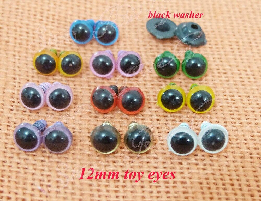 12 мм пластиковые открытый красочные игрушка безопасность глаза и черный цвет шайба для DIY плюшевых животных для кукол --- 100 шт. / lot ----