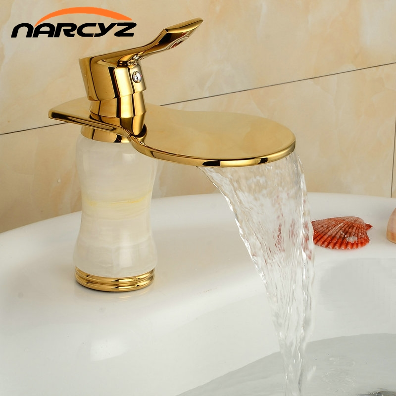 Gold Brass Material Basin Mixer Tapswith White Marble Stone Bathroom Basin Faucet Deck Mounted Tap G101 цены