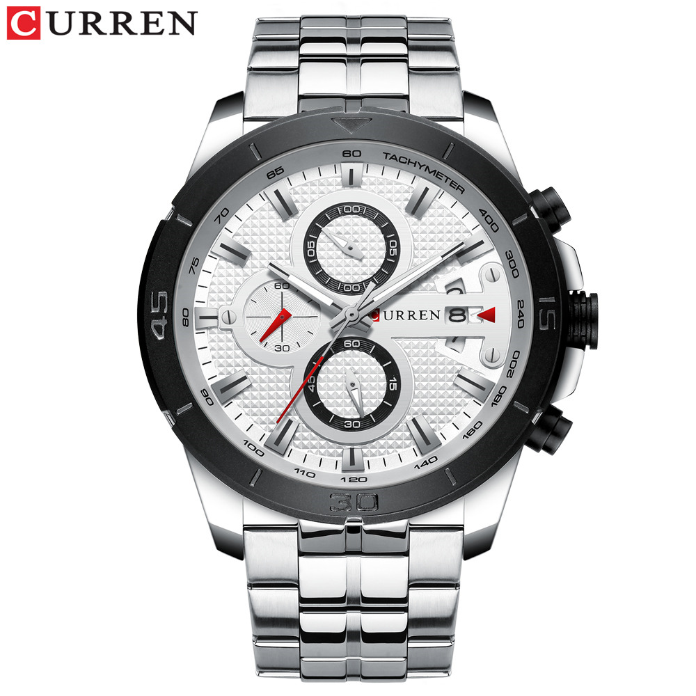 silver white watch