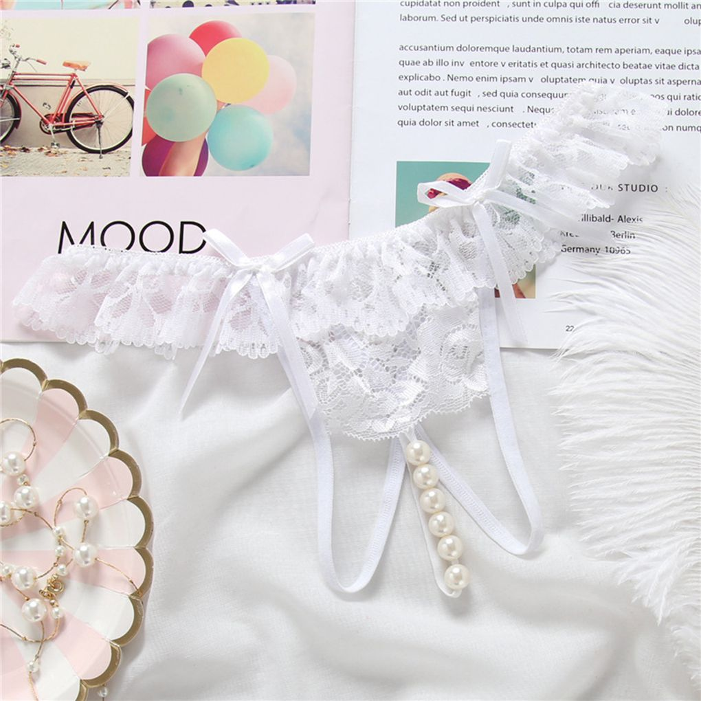 401dba7fcc8 Aliexpress.com   Buy Women Lace Bowknot Crotchless Briefs Underpants  Lingerie Girl Peplum Frill Pearl Knickers from Reliable Panties suppliers  on Beautiful ...