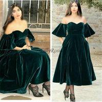 Dark Green Velvet Evening Dresses with Pocket Off the Shoulder Tea Length A Line Elegant Arabic Women Evening Gowns Formal