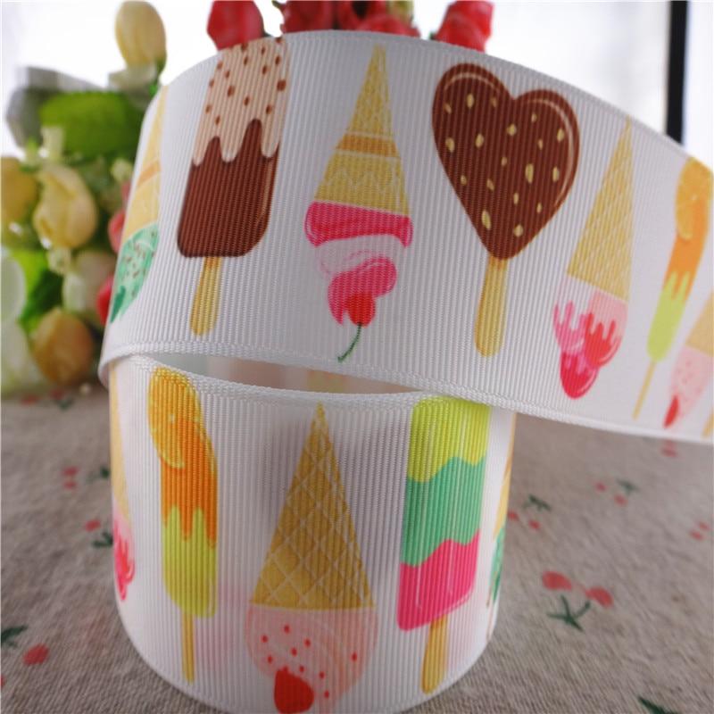 Cake Flower Printed Grosgrain Ribbon Crafts DIY Hair Bows Birthday Party Decor
