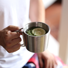Coffee Mugs New Style Folding Handle Thickened Double Wall Stainless Steel Milk Mugs Tea Cups Travel Camping Mugs 350ml