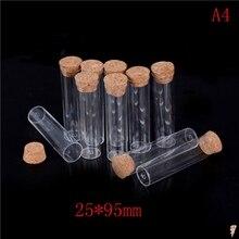 10 шт. 25x95 мм портативный прозрачный пластиковый парфюм маленький мини пустой флакон с деревянной крышкой