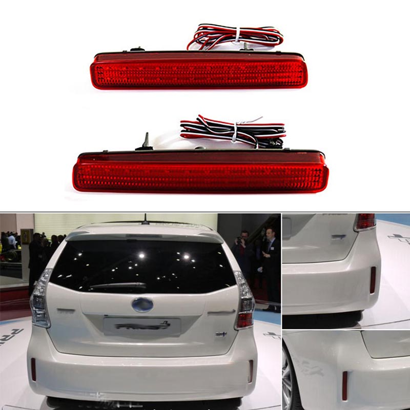 High Quality 2PCS LED Rear Bumper Reflector <font><b>Tail</b></font> Brake Light Fog Lamp For TOYOTA NOAH VOXY 80 and Pruis 40 series 2011-2015