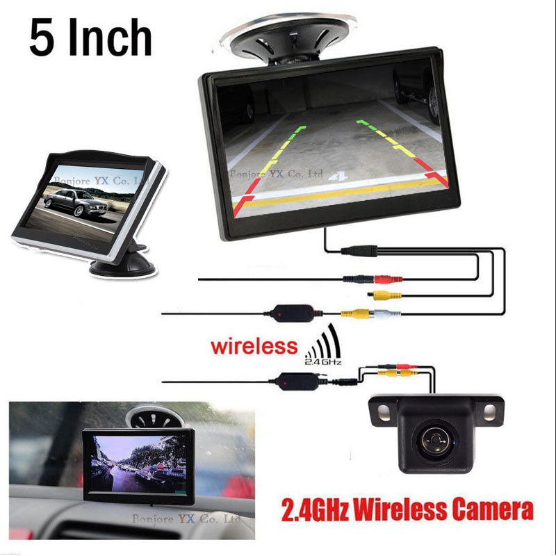 2.4G Wireless parking Camera Rearview camera Hight Resulution 5 TFT LCD Monitor Vehicle Parking Assistance Video Input For DVD
