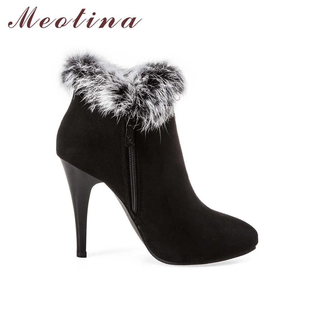 Meotina Seksi Kadın Çizmeler Kış Yüksek Topuklu yarım çizmeler Ayakkabı Kadın Sonbahar Bayanlar kısa çizmeler Kar Kürk Zip Beyaz Kırmızı Büyük Boy 11 45