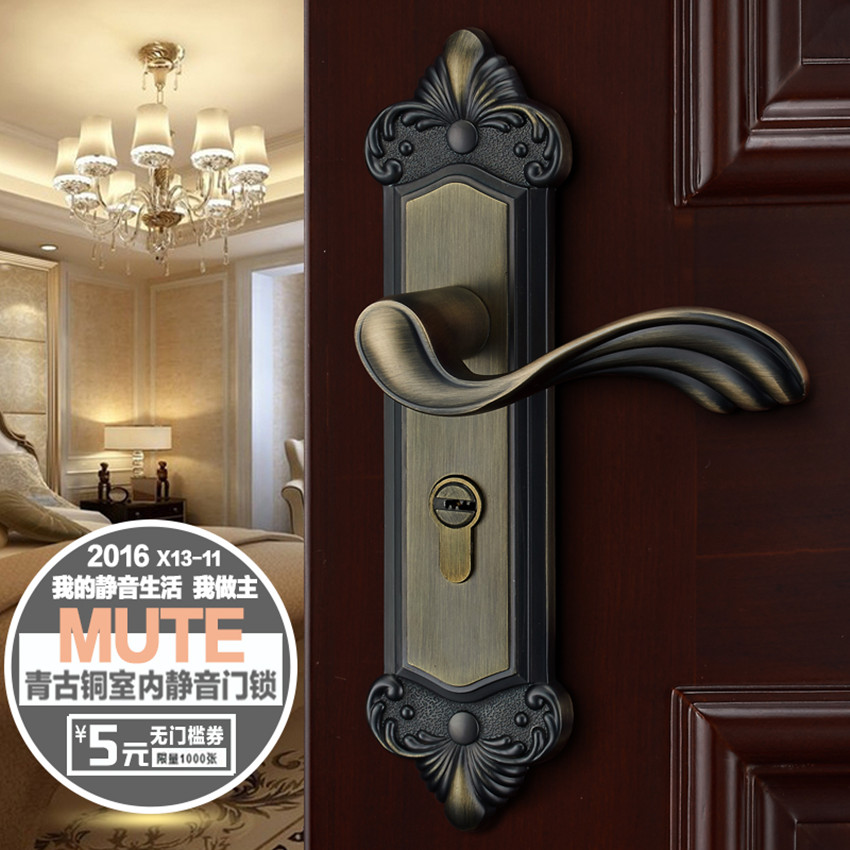 Fashion gold bedroon door handles antique brass / ivory white mute wooden door lock gold indoor locks European retro style locks european fashion glass crystal live room book room door handles amber white indoor lock mechanical handle lock bearing lock body