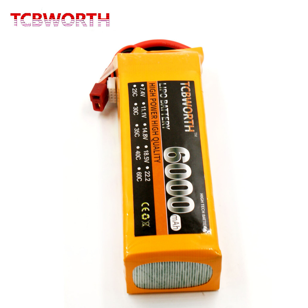 TCBWORTH 4S 14.8V 6000mAh 60C-120C 4S RC LiPo battery For RC Airplane Helicopter Quadrotor Car Drone Li-ion battery tcbworth 11 1v 3300mah 60c 120c 3s rc lipo battery for rc airplane helicopter quadrotor drone car boat truck li ion battery