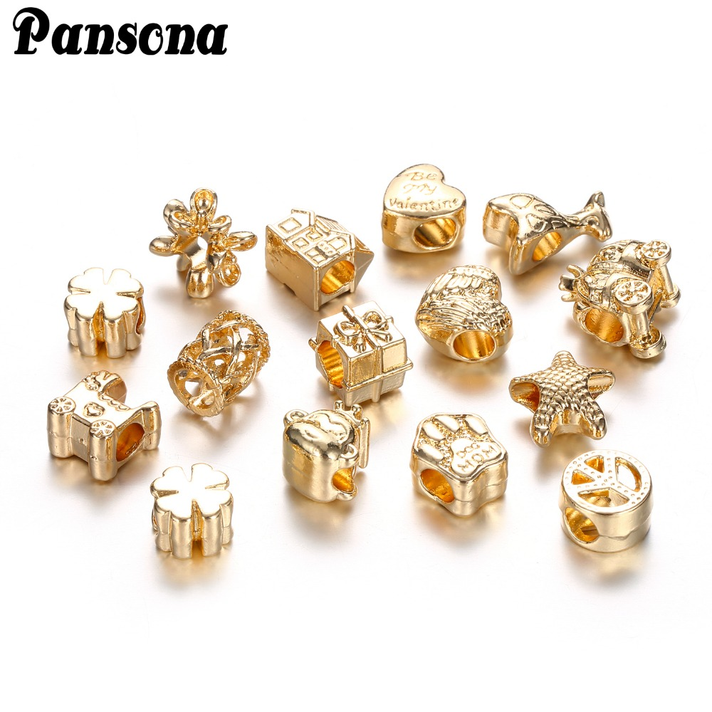 20 Pcs Gold Color Fit Charms Bracelets Bangles Paw House Star Beads  European Diy For Jewelry