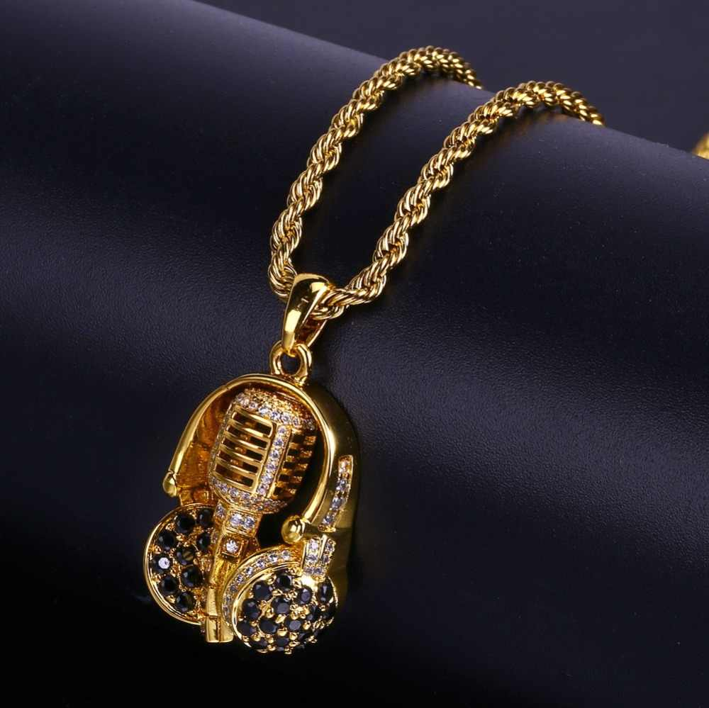TOPGRILLZ Hip Hop New Style For Male Headset Microphone Necklaces & Pendants Micro Pave Cubic Zircon Gold Color Plated Necklace