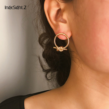 IngeSight.Z Simple Minimalist Gold Color Love Knot Earrings Statement Geometric Round Circle Copper Earrings for Women Jewelry minimalist gold silver color love knot earrings for women classic twisted stud earrings tie the knot wedding jewelry